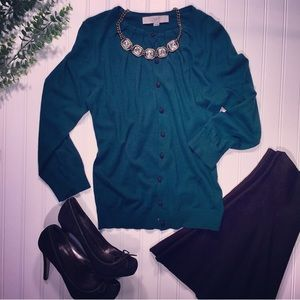 LOFT | Emerald button up Cardigan Sweater